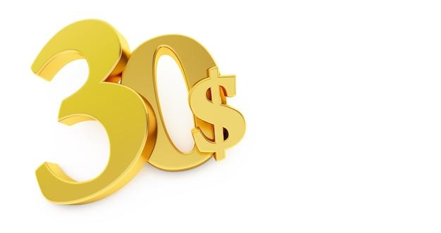 Gouden dertig dollar teken geïsoleerd