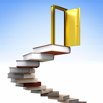 Gouden deur en boeken