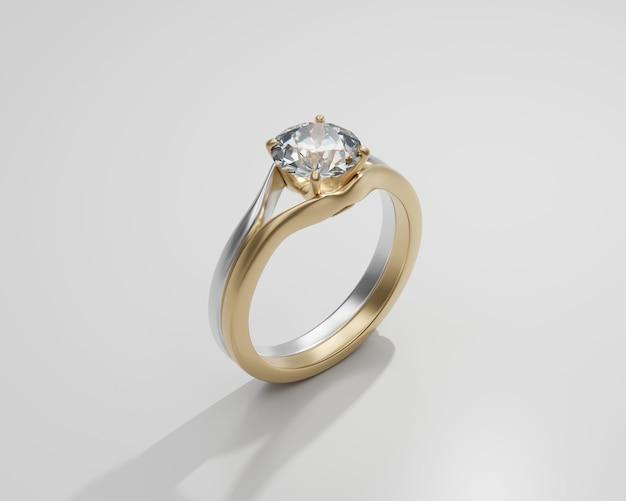 Gouden diamanten ring geïsoleerd op een witte achtergrond 3d render