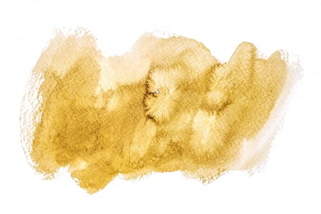 Gouden die waterverf op witte achtergronden, hand wordt geïsoleerd die op verfrommeld document schilderen