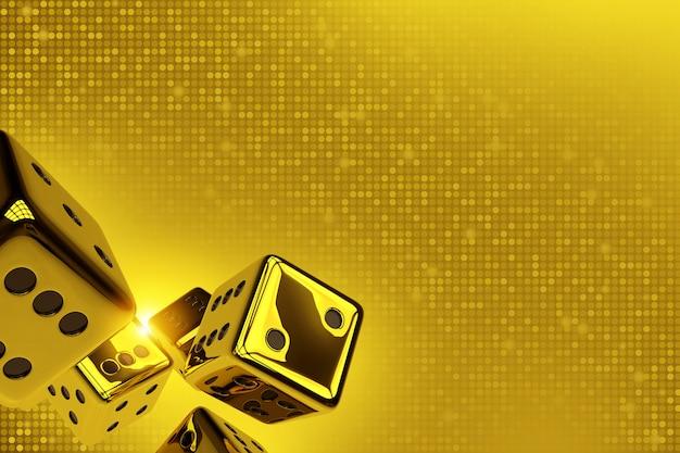 Gouden dobbelstenen kopiëren ruimte 3d render illustratie.