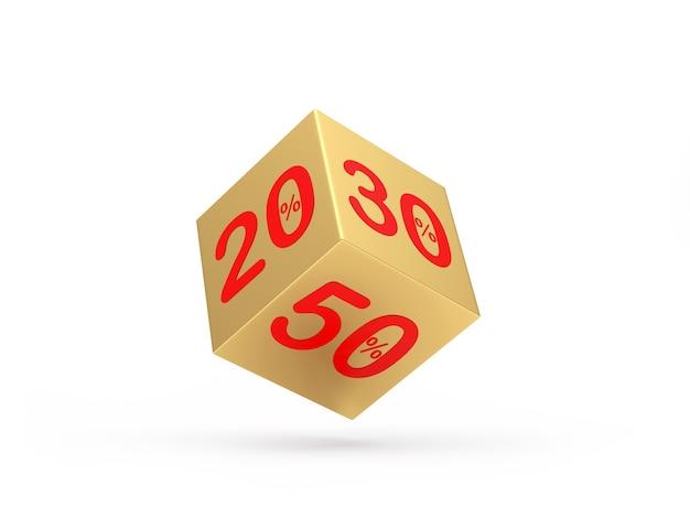 Gouden dobbelstenen met 20 en 30 en 50 procent korting