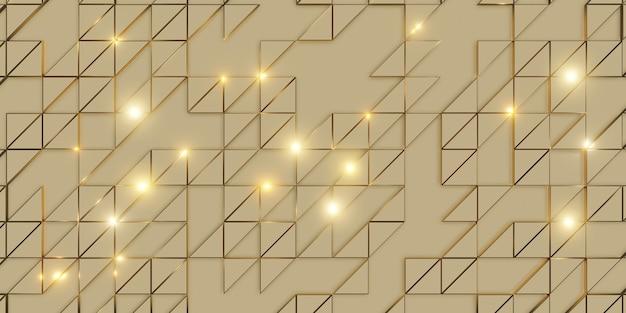 Gouden driehoek pixel geometrische abstractie elegante en verfijnde achtergrond 3d-rendering