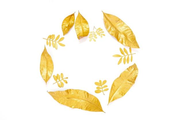Gouden droge die laurierbladeren op witte achtergrond worden geïsoleerd