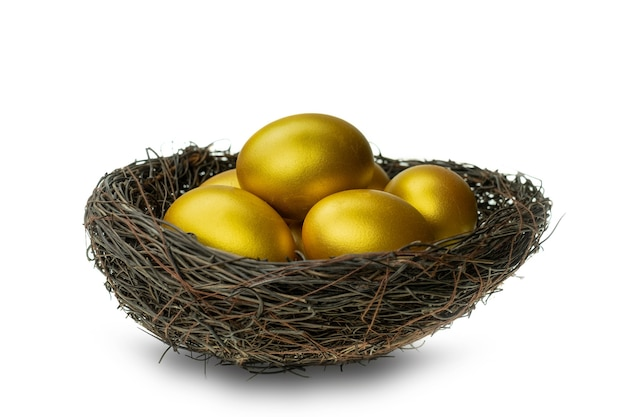 Gouden eieren in decoratief nest dat bij witte achtergrond wordt geïsoleerd