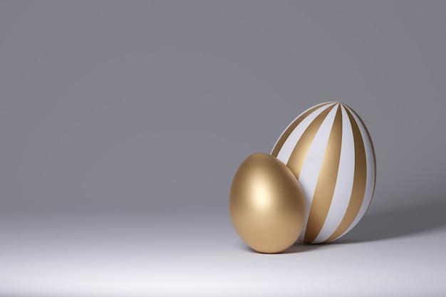 Gouden eieren op een grijze achtergrond. 3d render
