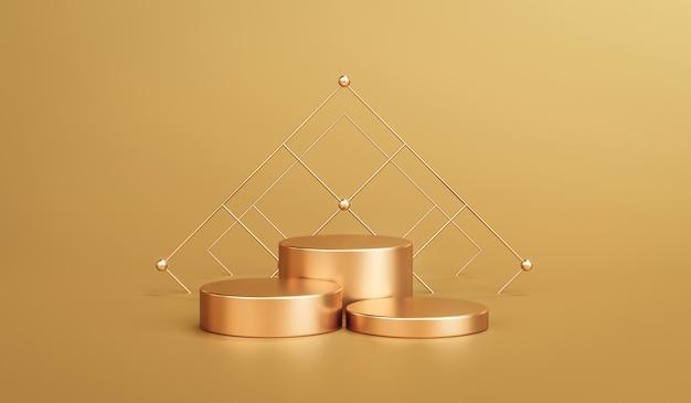 Gouden elegante productachtergrondstandaard of podiumvoetstuk op gouden vertoning met luxe achtergronden. 3d-weergave.