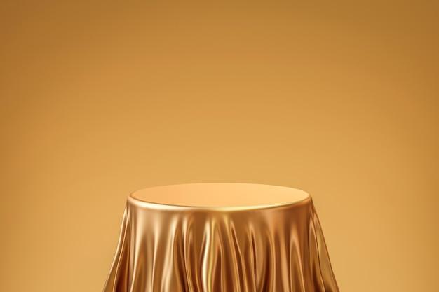 Gouden elegante tafelproduct achtergrondstandaard of podiumvoetstuk op gouden display met luxe achtergronden. 3d-weergave.