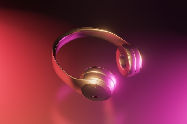 Gouden en glanzende draadloze koptelefoon op zwarte achtergrond met reflecties. neonverlichting. detailopname. 3d render