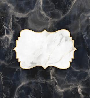 Gouden en marmeren frame op een donkere marmeren textuurachtergrond
