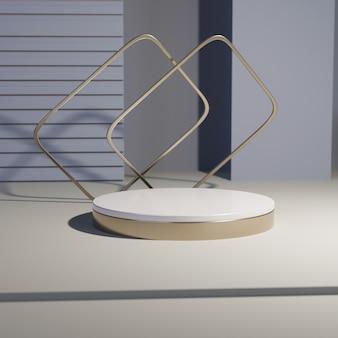 Gouden en wit cilinderpodium, 3d render