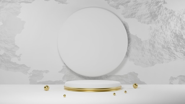 Gouden en wit cirkelpodium met cirkel op betonnen muur