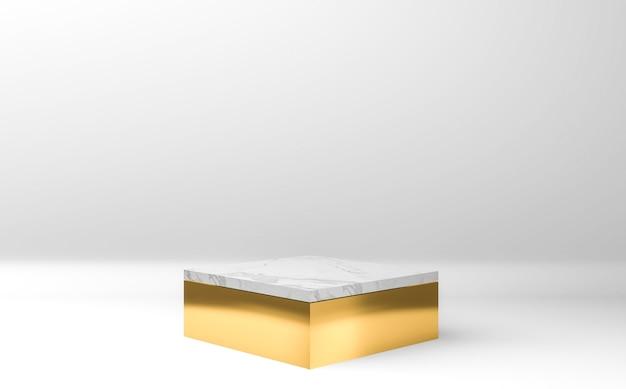 Gouden en wit vierkant podium op grijze achtergrond