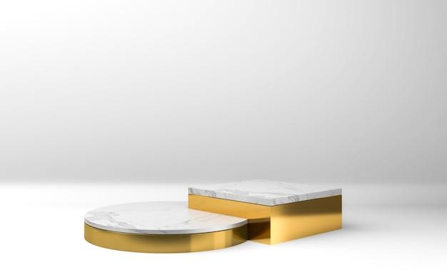 Gouden en witte podia op grijze achtergrond