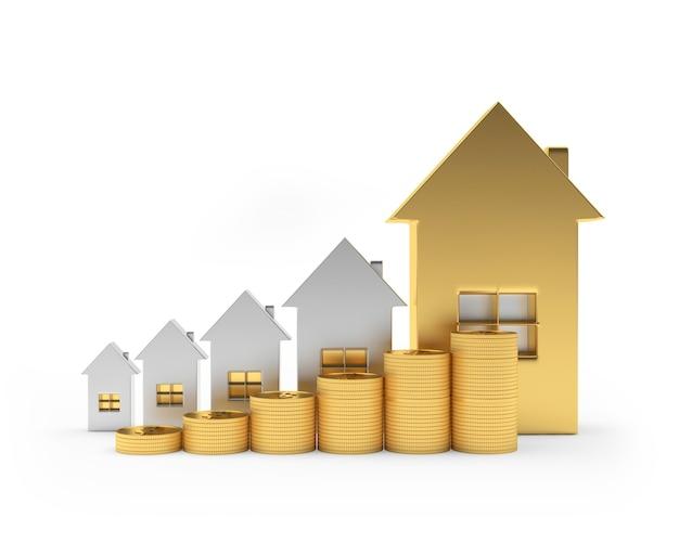 Gouden en zilveren huizenpictogrammen met munten als een grafiek 3d