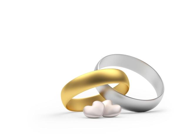 Gouden en zilveren trouwringen met fijne hartjes
