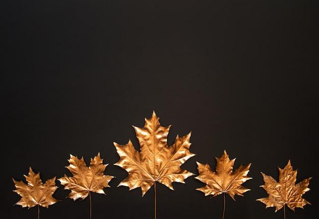 Gouden esdoornbladeren op een zwarte achtergrond