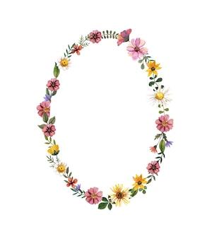 Gouden frame met aquarel geperst en gedroogde bloem op witte achtergrond. sjabloon voor huwelijksceremonie, minimale uitnodigingskaart, decoratieve zomerbanner