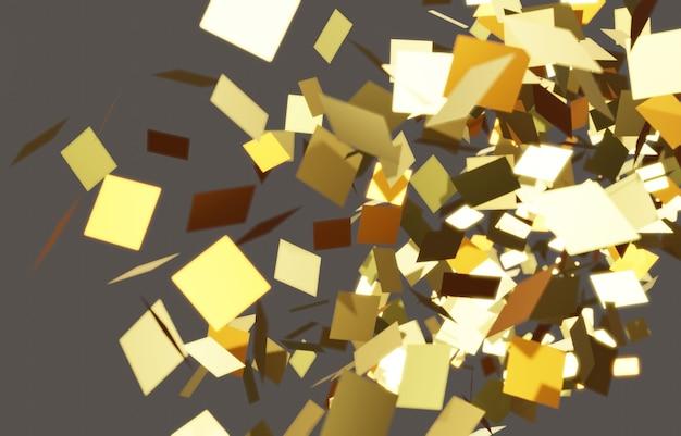 Gouden gebroken rechthoekige plaat gebroken oppervlakken zwevend in de lucht