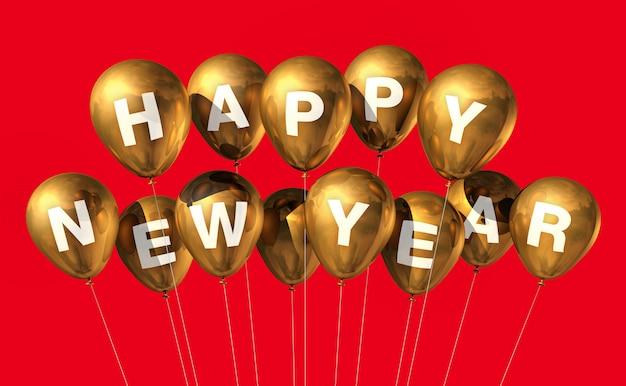Gouden gelukkig nieuwjaar ballonnen
