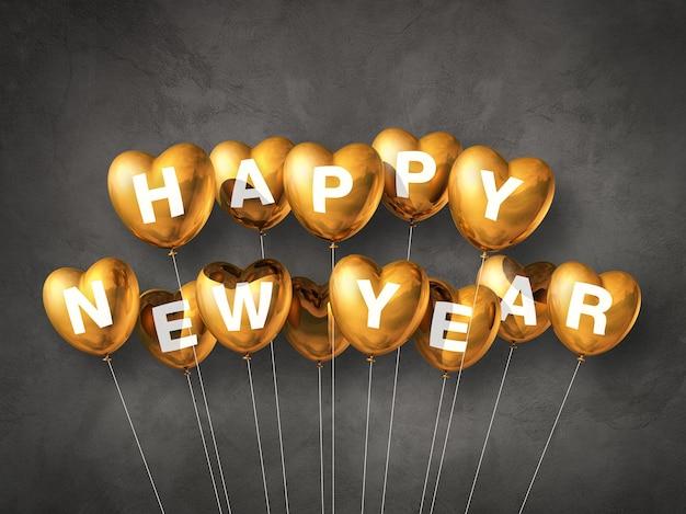 Gouden gelukkig nieuwjaar hartvormige lucht ballonnen op een donker beton