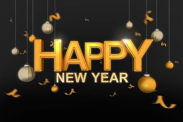 Gouden gelukkig nieuwjaar typografie met kerstbal en confetti goud op zwarte achtergrond., 3d-rendering.
