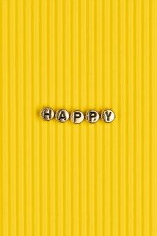Gouden gelukkig woord kralen belettering typografie