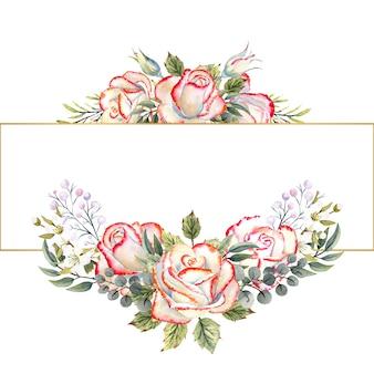 Gouden geometrische frame met een boeket van witte rozen met bladeren, decoratieve twijgen en bessen op een witte geïsoleerde achtergrond. aquarelillustratie voor logo's, uitnodigingen, wenskaarten, enz.