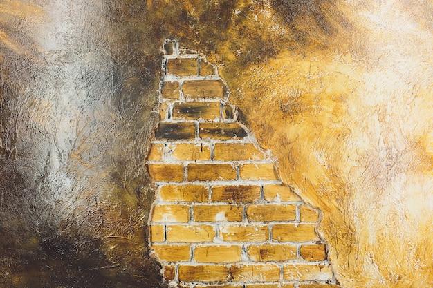 Gouden geweven muurontwerp, grunge muurtextuur.