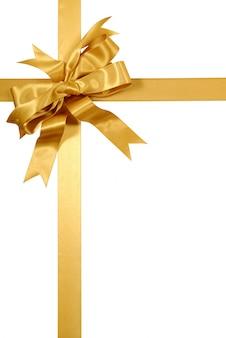 Gouden gift lint boog geïsoleerd op wit