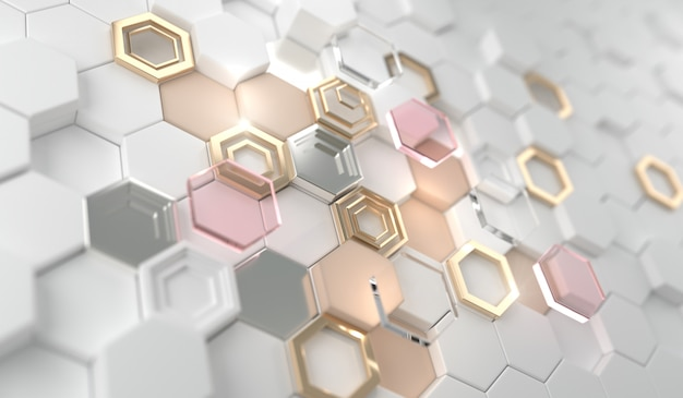 Gouden glanzende gloeiende zeshoek op de witte zeshoek. gouden luxe lijnrand voor uitnodiging, kaart, verkoop, mode, foto enz. bruiloft, schoonheidsproducten. 3d-rendering.