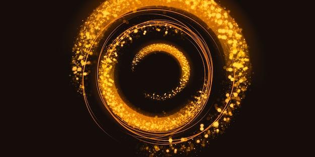 Gouden glitter cirkel abstracte swirl lichteffect sprankelende ster stof 3d illustratie