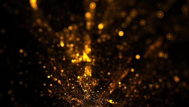 Gouden glitter deeltjes explosie bokeh achtergrond