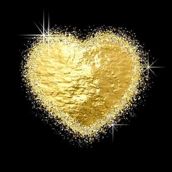 Gouden glitter hartvorm op zwarte achtergrond