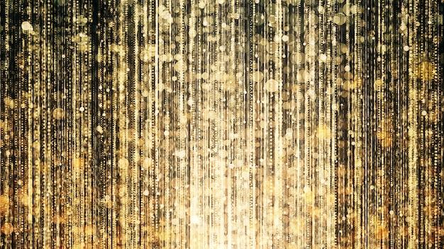 Gouden glitterlichten in feest- en feestscène.