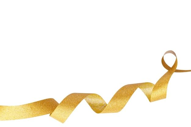 Gouden golvend lint geïsoleerd op een witte achtergrond. vakantie decoratie concept.
