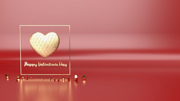 Gouden hart en gouden fram 3d-rendering voor valentijnsdag inhoud.