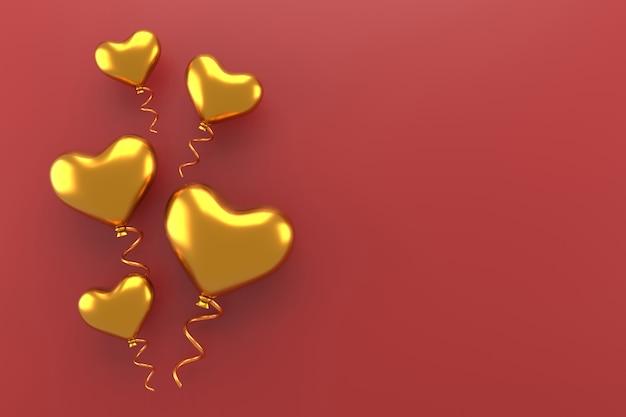 Gouden hartballon. valentijn achtergrond. 3d-weergave.