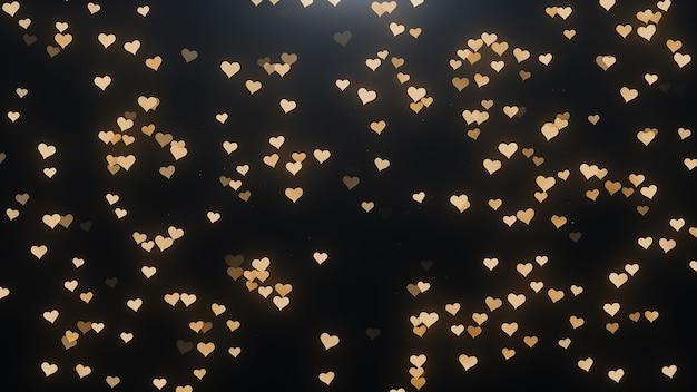 Gouden harten op een zwarte achtergrond