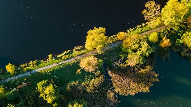 Gouden herfst achtergrond, luchtfoto van bos met gele bomen en meer landschap