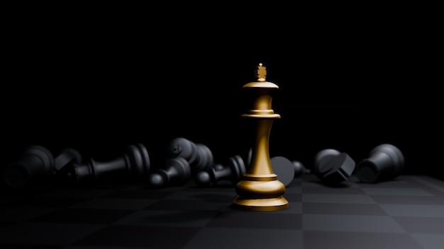 Gouden het schaakspel van de bischopschaak en, het concepten bedrijfsachtergrond van bedrijfsstrategieideeën