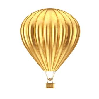 Gouden hete luchtballon op een witte achtergrond. 3d-rendering