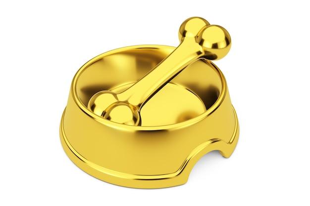 Gouden hond kauwbot in gouden kom voor hond op een witte achtergrond. 3d-rendering