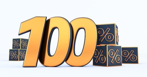 Gouden honderd 100 procent nummer met zwarte kubussen percentages geïsoleerd op een witte achtergrond. 3d render