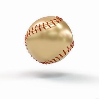 Gouden honkbalbal op wit. concept van overwinning en succes. 3d render. niemand in de buurt.