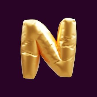 Gouden hoofdletter n letter ballon 3d illustratie. 3d illustratie van gouden hoofdletter n letter ballon.