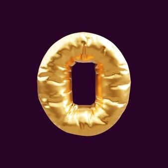Gouden hoofdletter o letter ballon 3d illustratie. 3d illustratie van gouden hoofdletter o letter ballon.