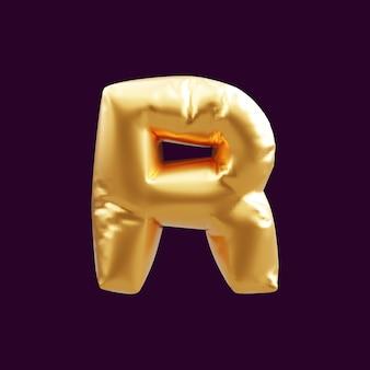 Gouden hoofdletter r brief ballon 3d illustratie. 3d illustratie van gouden hoofdletter r letter ballon.