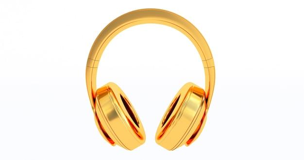 Gouden hoofdtelefoon op witte achtergrond. 3d render