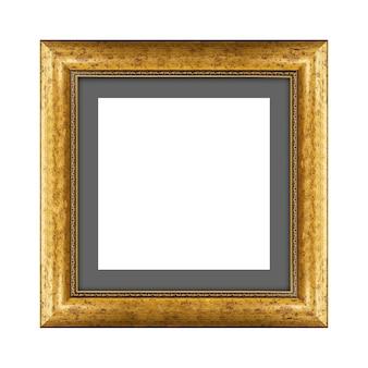 Gouden houten frame voor foto of foto geïsoleerd op een witte achtergrond met uitknippad